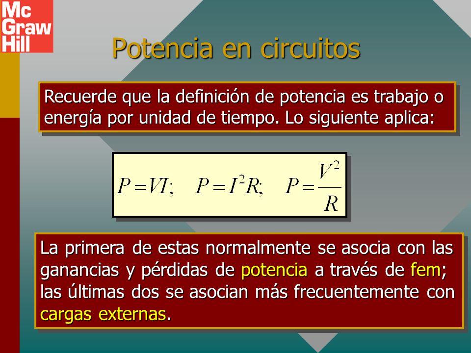 Potencia en circuitos Recuerde que la definición de potencia es trabajo o energía por unidad de tiempo. Lo siguiente aplica: