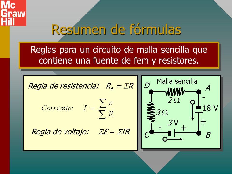 Resumen de fórmulasReglas para un circuito de malla sencilla que contiene una fuente de fem y resistores.