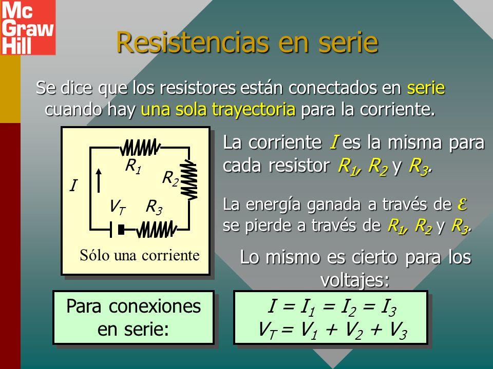Resistencias en serieSe dice que los resistores están conectados en serie cuando hay una sola trayectoria para la corriente.