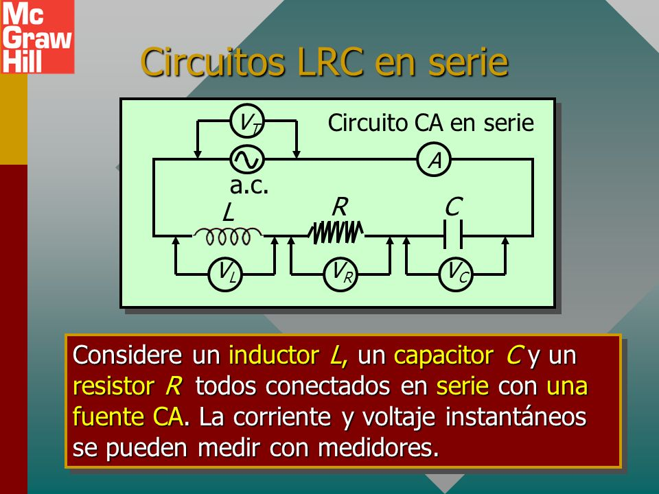 Circuitos LRC en serie L C R a.c.