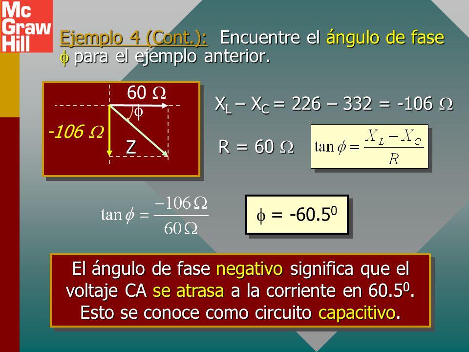 Ejemplo 4 (Cont.): Encuentre el ángulo de fase f para el ejemplo anterior.