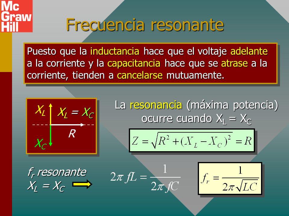 La resonancia (máxima potencia) ocurre cuando XL = XC