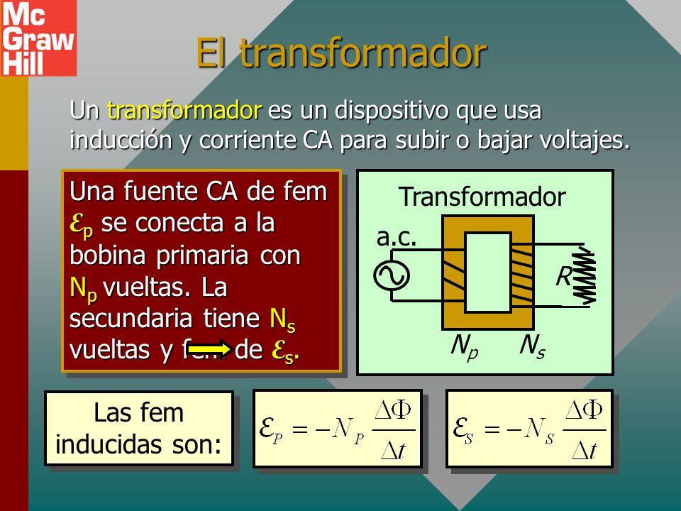 El transformadorUn transformador es un dispositivo que usa inducción y corriente CA para subir o bajar voltajes.