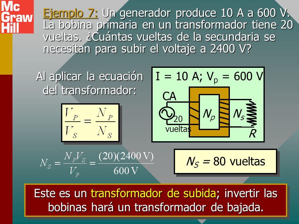 Al aplicar la ecuación del transformador: