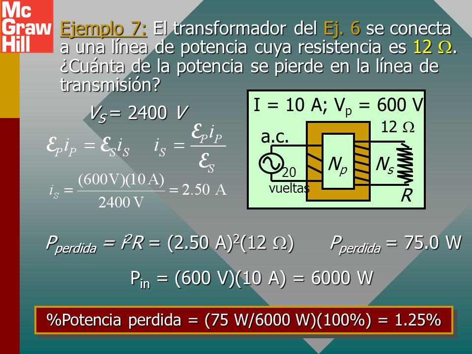 %Potencia perdida = (75 W/6000 W)(100%) = 1.25%