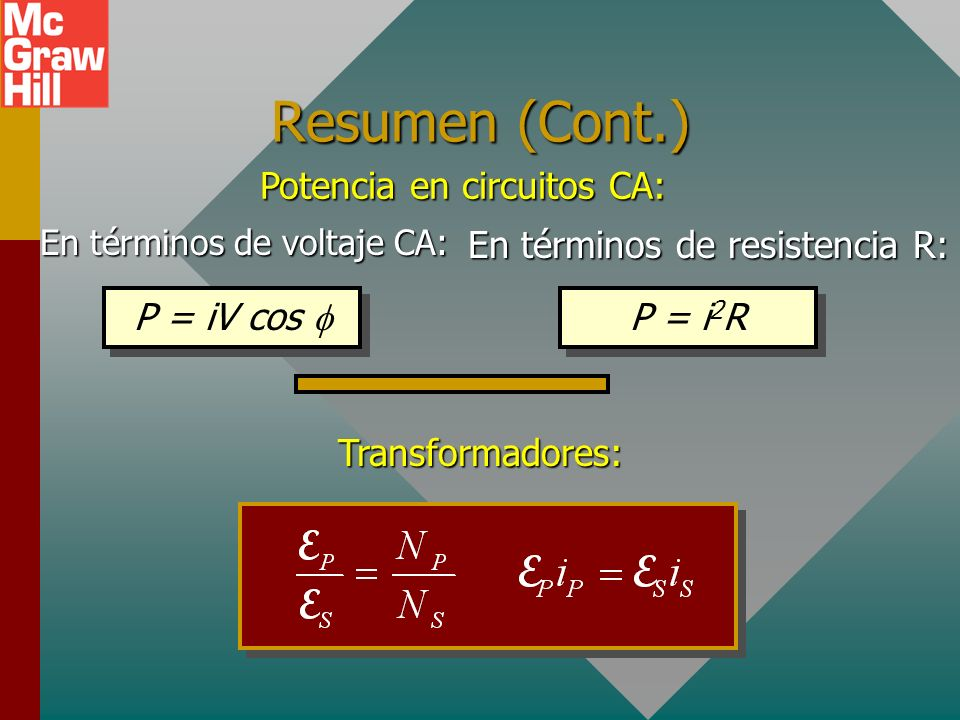 Resumen (Cont.) Potencia en circuitos CA: P = iV cos f