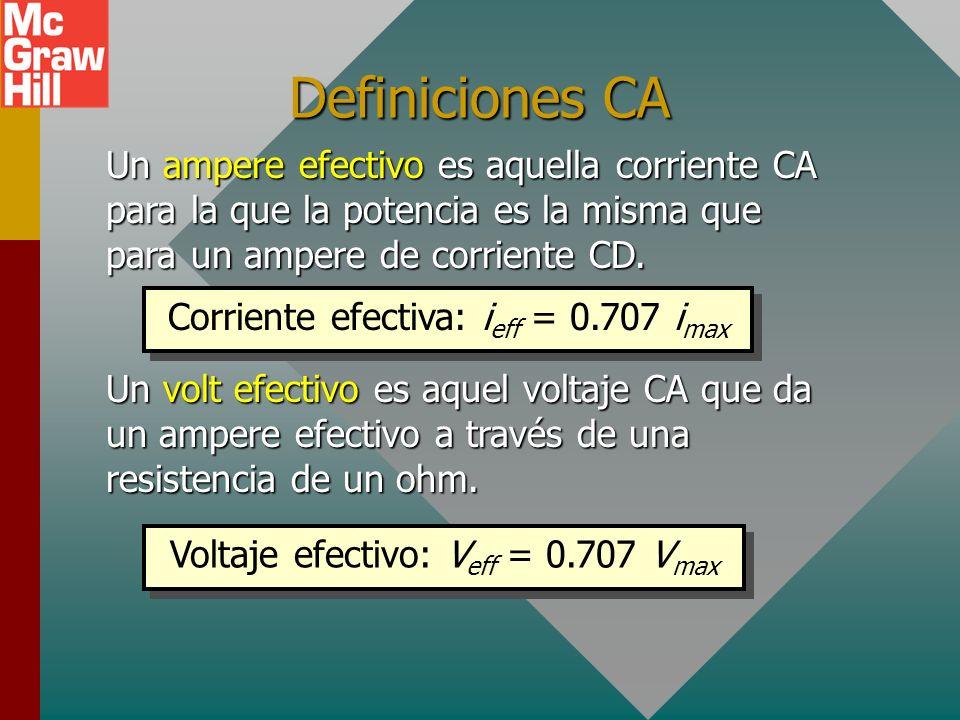 Definiciones CAUn ampere efectivo es aquella corriente CA para la que la potencia es la misma que para un ampere de corriente CD.