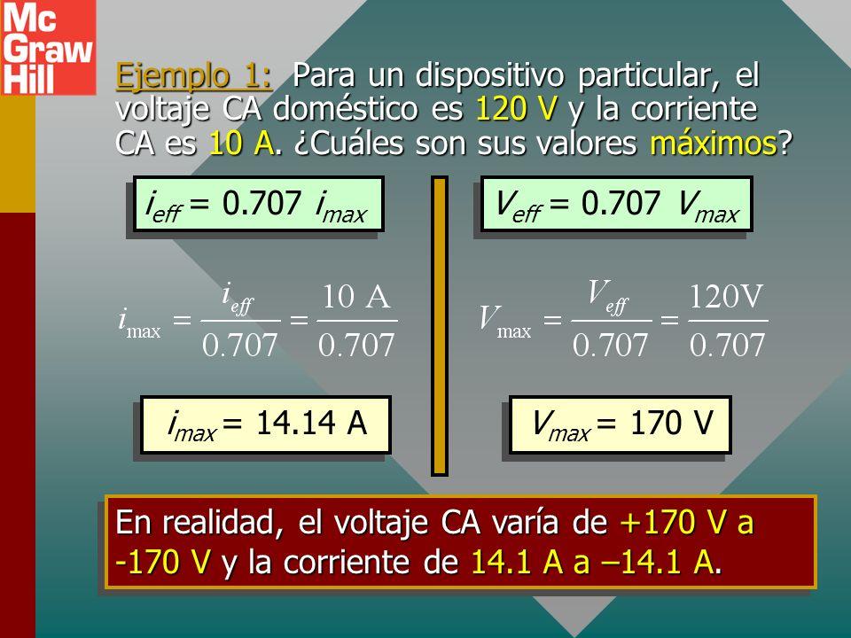 Ejemplo 1: Para un dispositivo particular, el voltaje CA doméstico es 120 V y la corriente CA es 10 A. ¿Cuáles son sus valores máximos