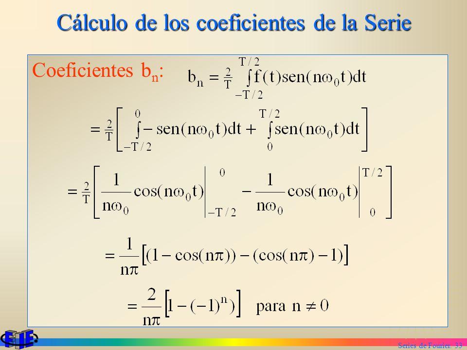 Cálculo de los coeficientes de la Serie