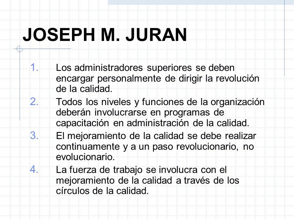 JOSEPH M. JURANLos administradores superiores se deben encargar personalmente de dirigir la revolución de la calidad.