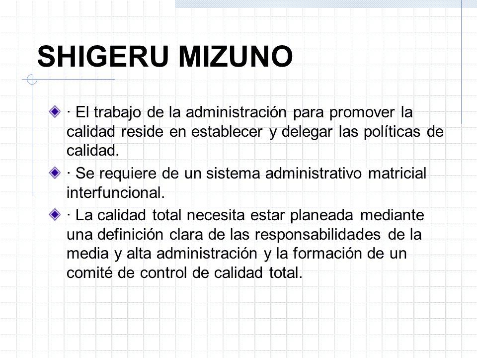 SHIGERU MIZUNO · El trabajo de la administración para promover la calidad reside en establecer y delegar las políticas de calidad.