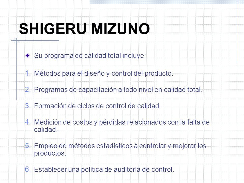 SHIGERU MIZUNO Su programa de calidad total incluye: