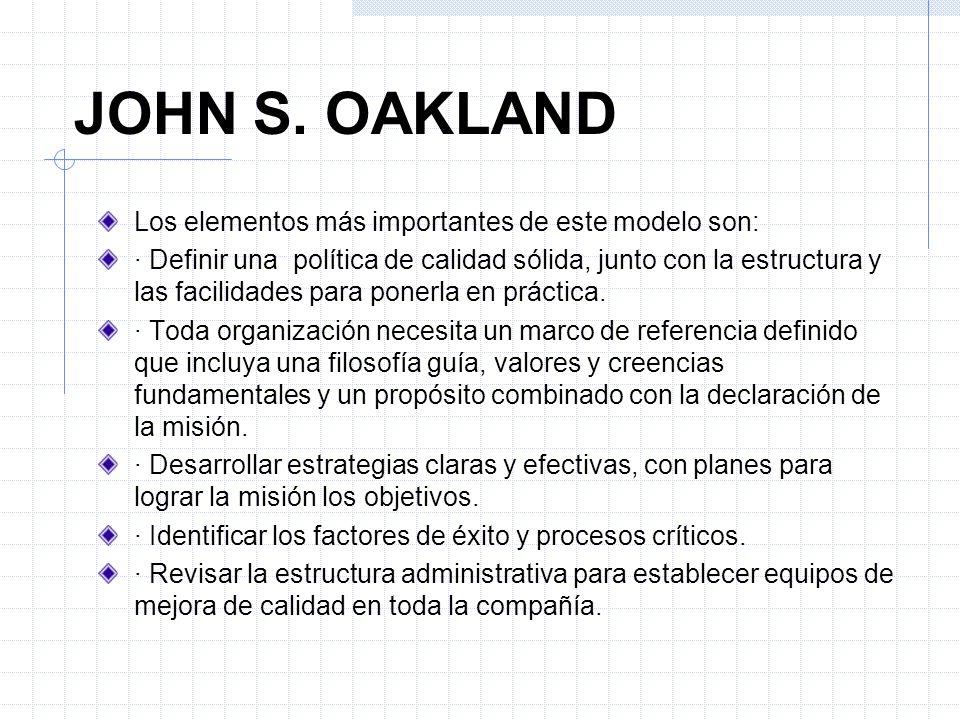 JOHN S. OAKLAND Los elementos más importantes de este modelo son: