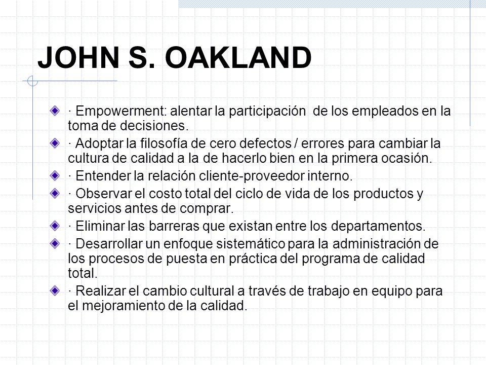 JOHN S. OAKLAND· Empowerment: alentar la participación de los empleados en la toma de decisiones.