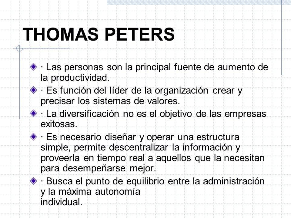 THOMAS PETERS · Las personas son la principal fuente de aumento de la productividad.