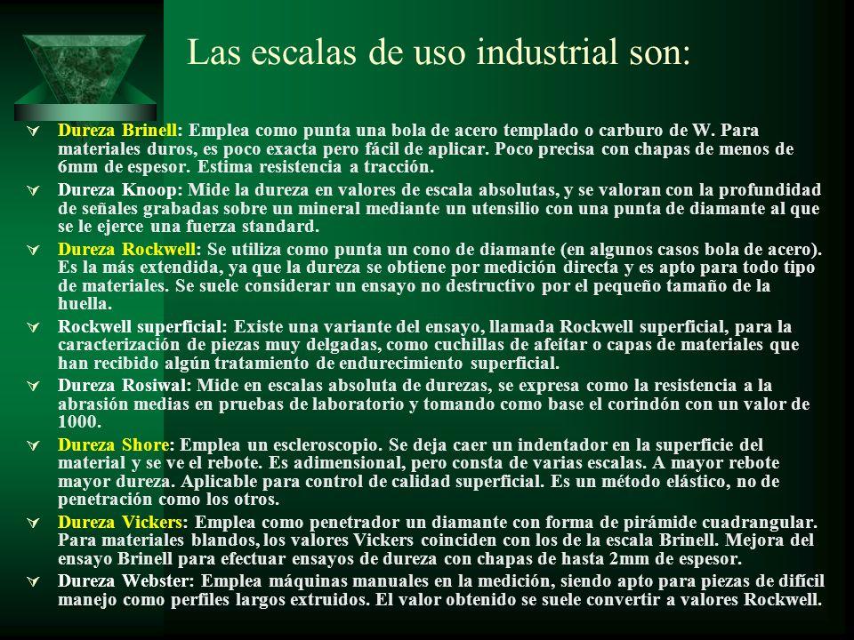 Las escalas de uso industrial son: