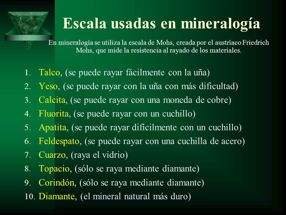 Escala usadas en mineralogía
