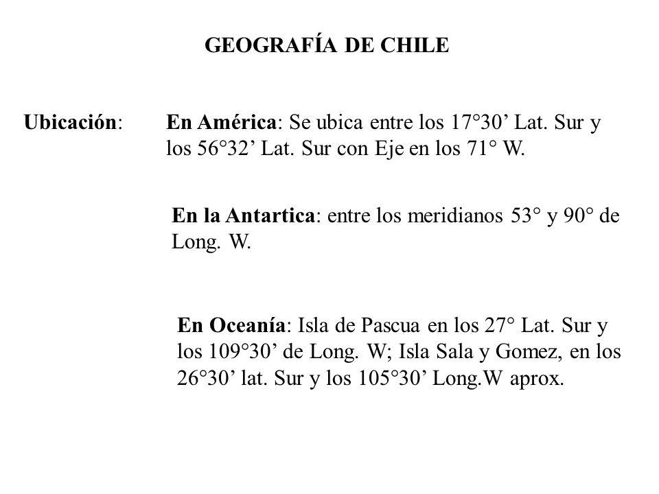 GEOGRAFÍA DE CHILE Ubicación: En América: Se ubica entre los 17°30' Lat. Sur y los 56°32' Lat. Sur con Eje en los 71° W.