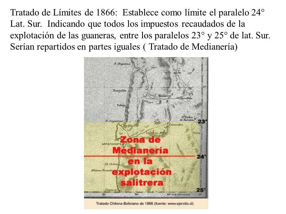 Tratado de Límites de 1866: Establece como límite el paralelo 24° Lat