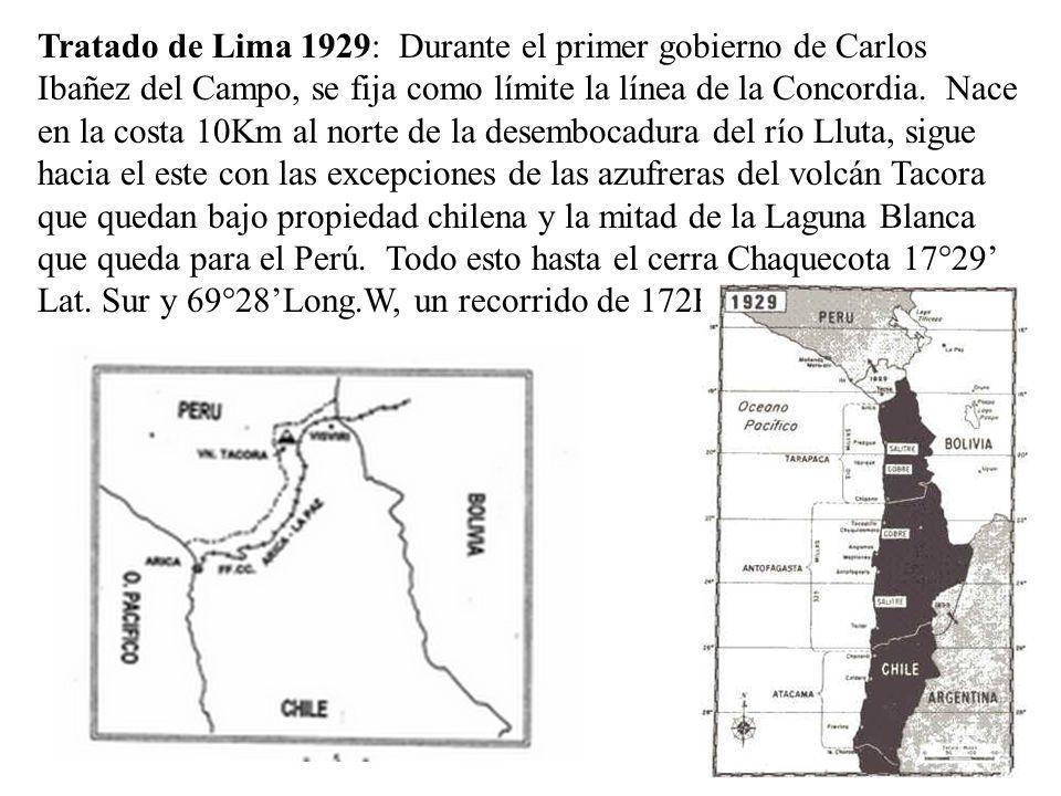 Tratado de Lima 1929: Durante el primer gobierno de Carlos Ibañez del Campo, se fija como límite la línea de la Concordia.