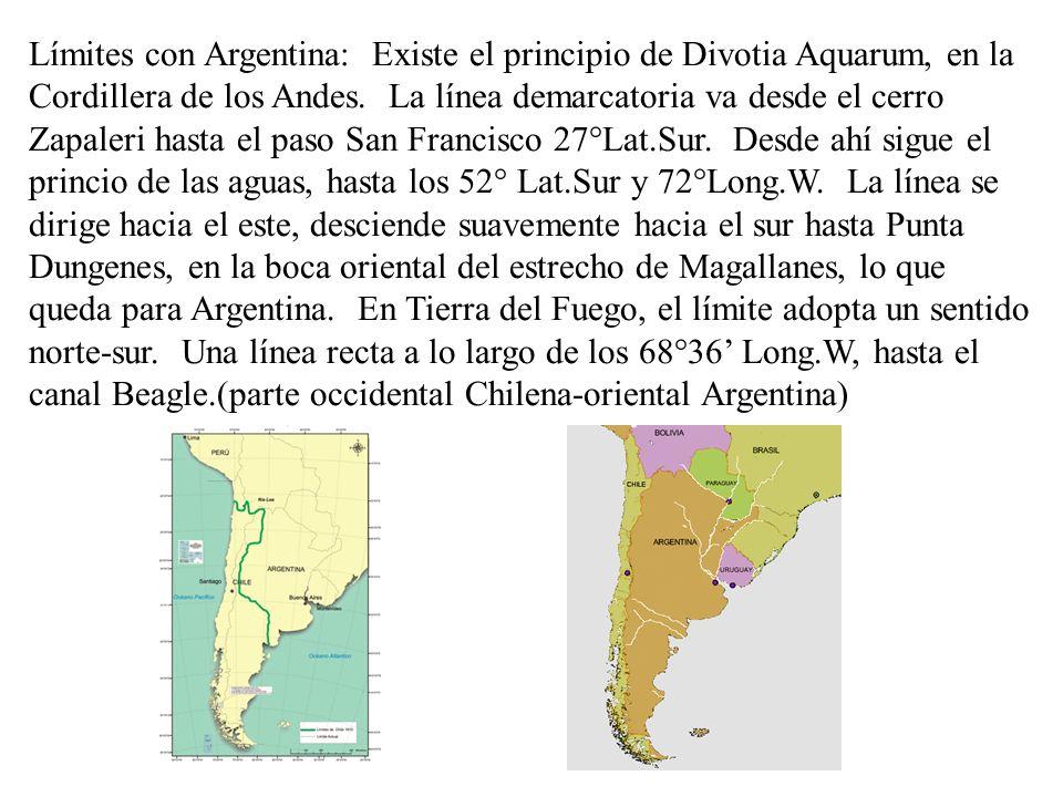 Límites con Argentina: Existe el principio de Divotia Aquarum, en la Cordillera de los Andes.