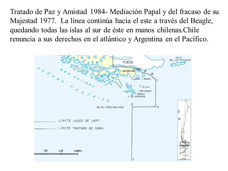 Tratado de Paz y Amistad 1984- Mediación Papal y del fracaso de su Majestad 1977.