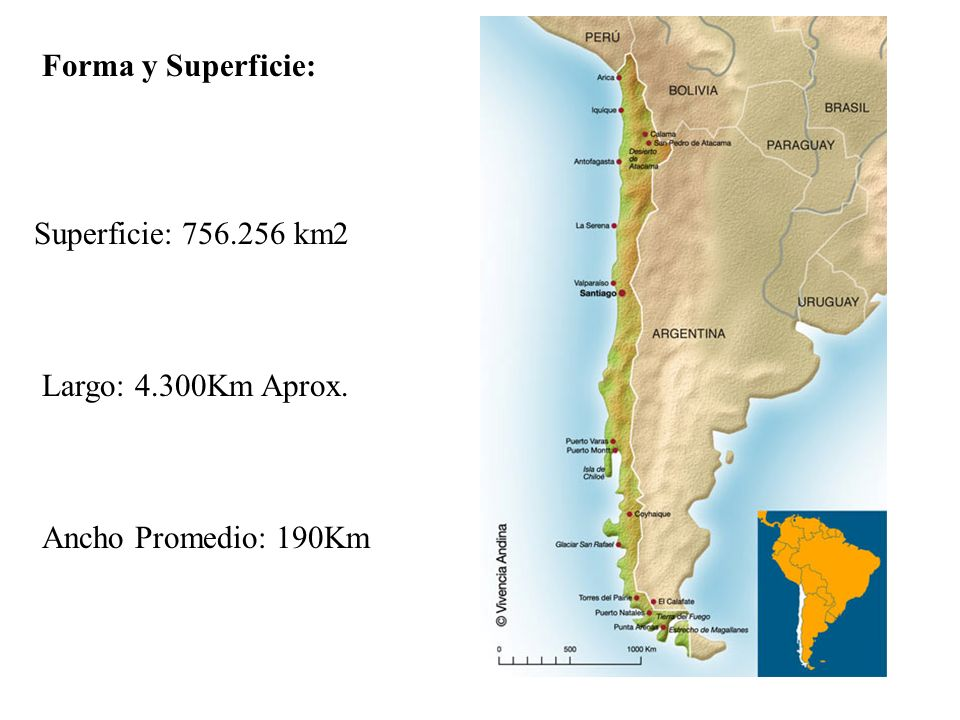 Forma y Superficie: Superficie: km2 Largo: 4.300Km Aprox. Ancho Promedio: 190Km