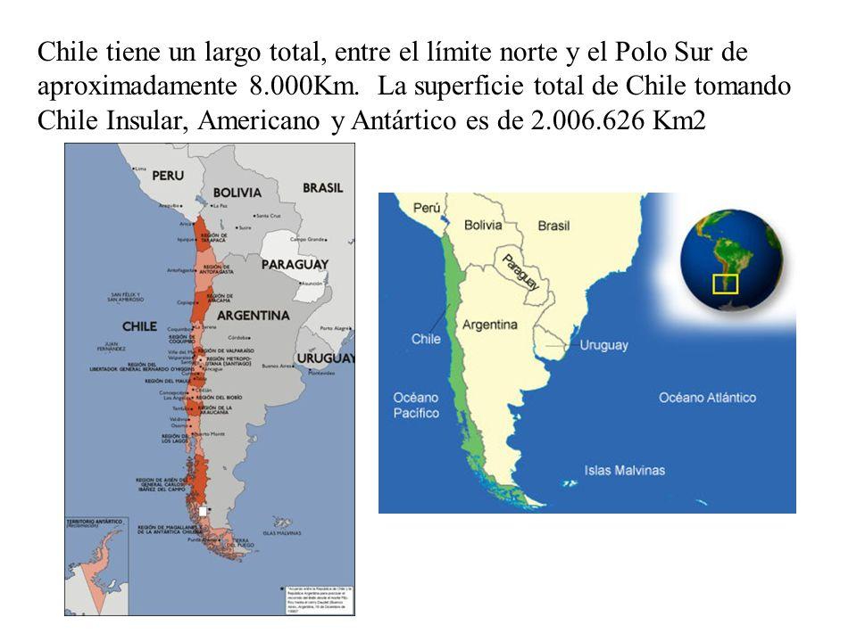 Chile tiene un largo total, entre el límite norte y el Polo Sur de aproximadamente 8.000Km.
