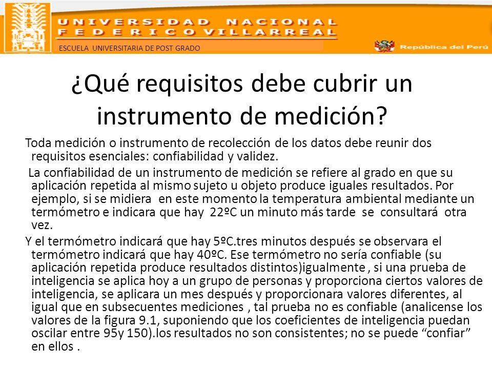 ¿Qué requisitos debe cubrir un instrumento de medición