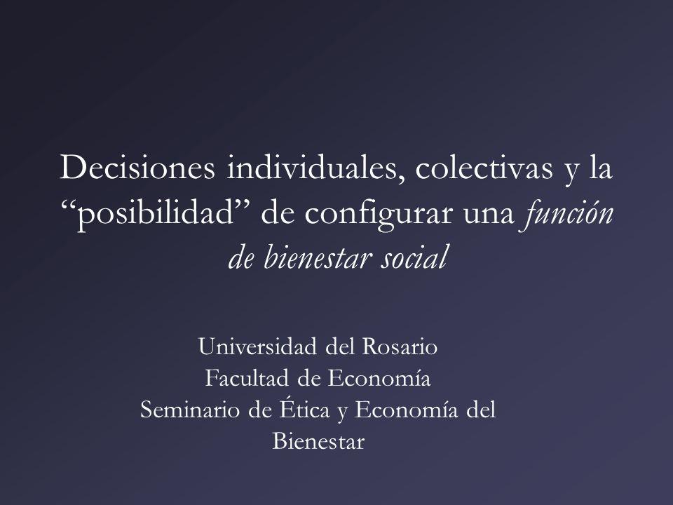 Decisiones individuales, colectivas y la posibilidad de configurar una función de bienestar social