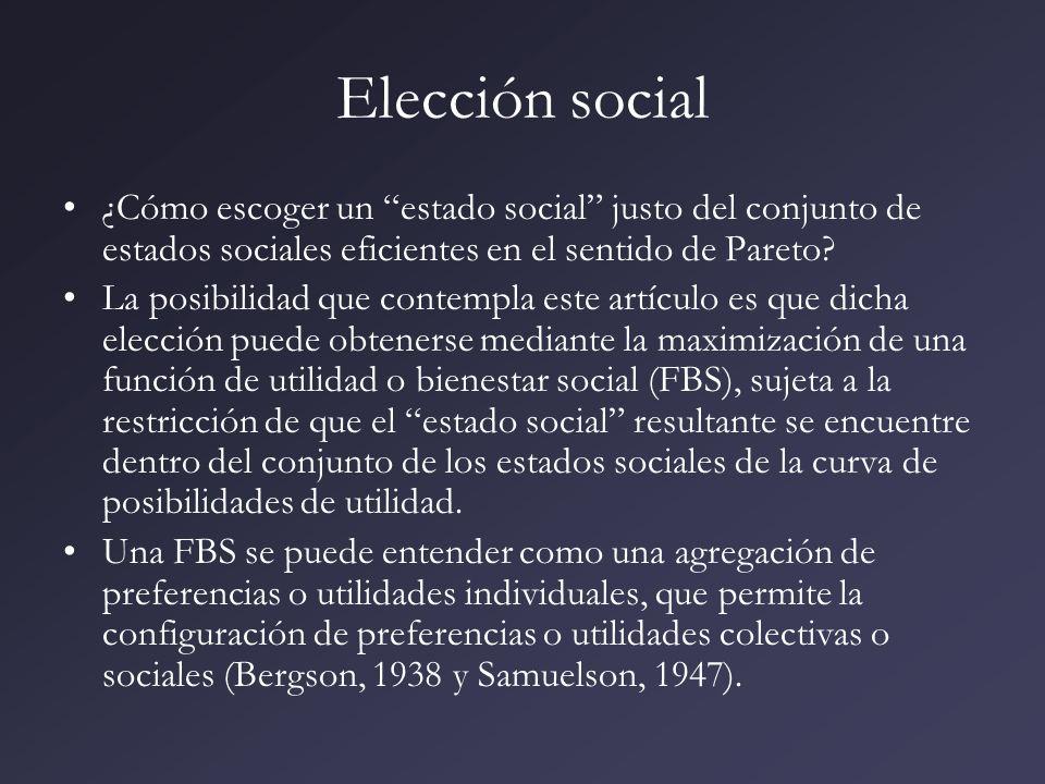 Elección social ¿Cómo escoger un estado social justo del conjunto de estados sociales eficientes en el sentido de Pareto