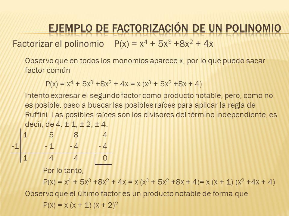 EJEMPLO DE FACTORIZACIÓN DE UN POLINOMIO