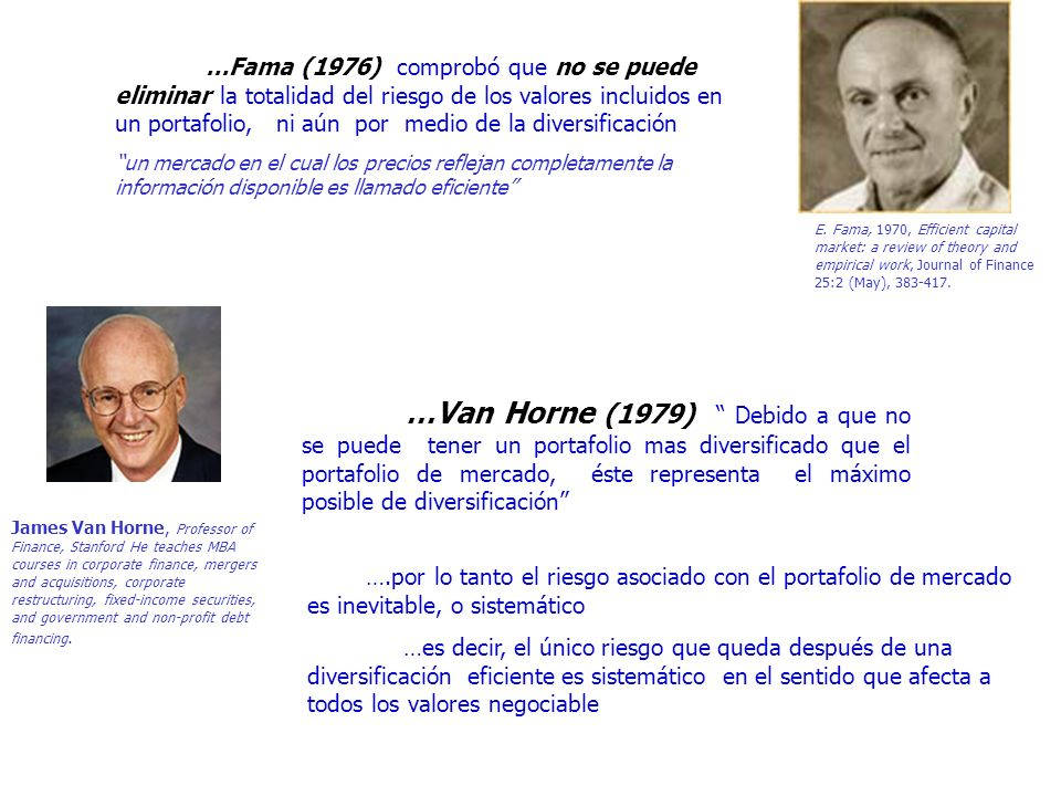 …Fama (1976) comprobó que no se puede eliminar la totalidad del riesgo de los valores incluidos en un portafolio, ni aún por medio de la diversificación