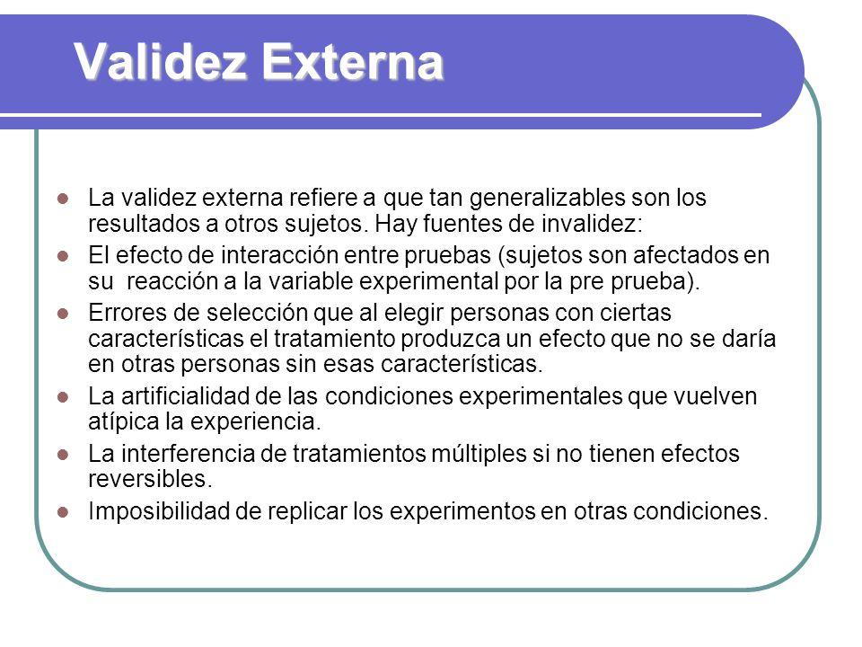 Validez Externa La validez externa refiere a que tan generalizables son los resultados a otros sujetos. Hay fuentes de invalidez: