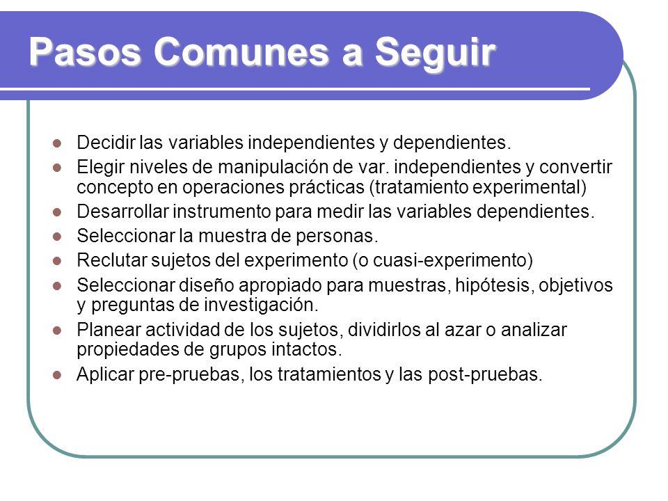 Pasos Comunes a Seguir Decidir las variables independientes y dependientes.