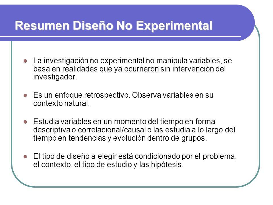 Resumen Diseño No Experimental