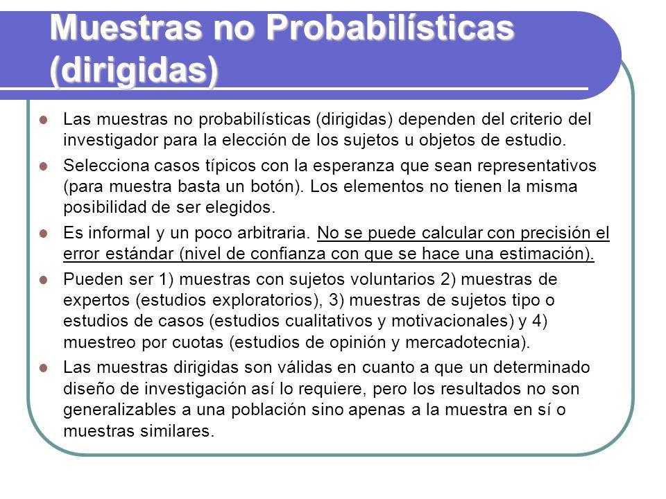 Muestras no Probabilísticas (dirigidas)