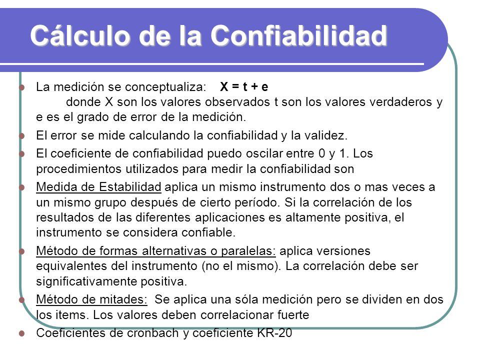 Cálculo de la Confiabilidad
