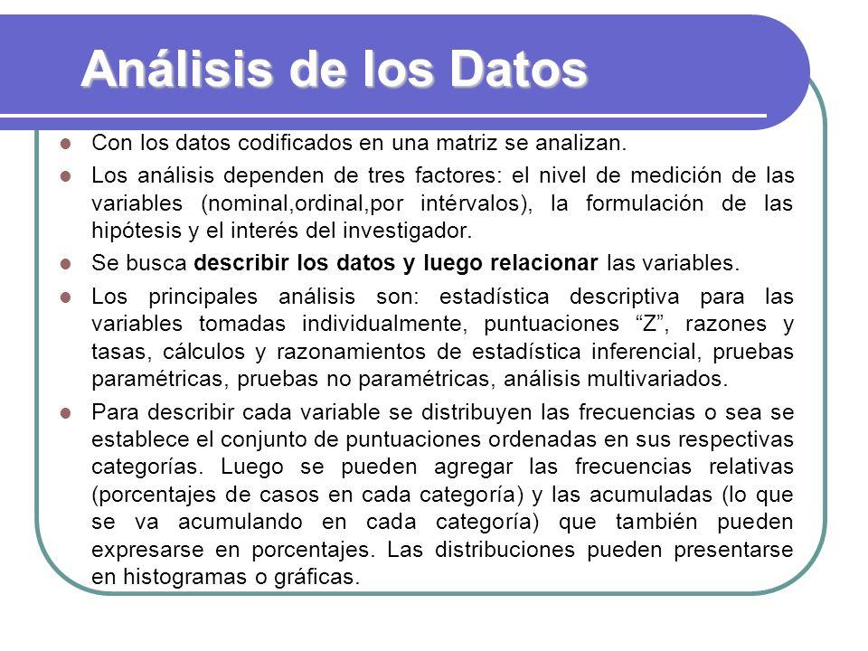 Análisis de los Datos Con los datos codificados en una matriz se analizan.