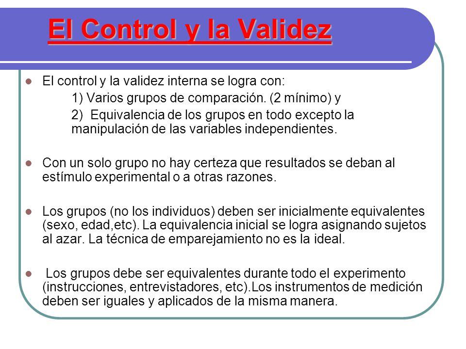 El Control y la Validez El control y la validez interna se logra con: