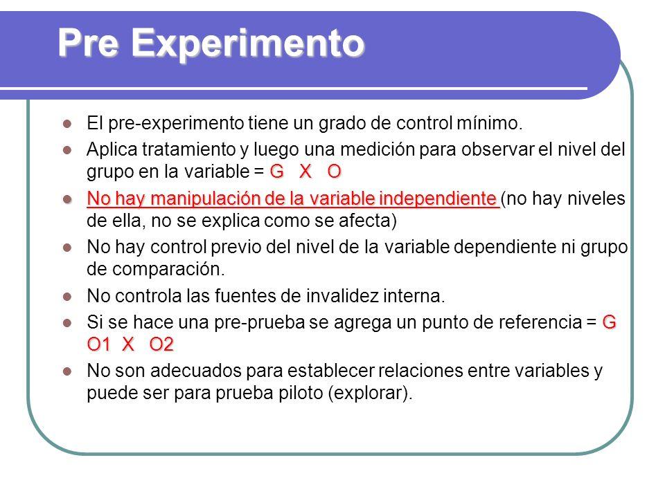Pre Experimento El pre-experimento tiene un grado de control mínimo.