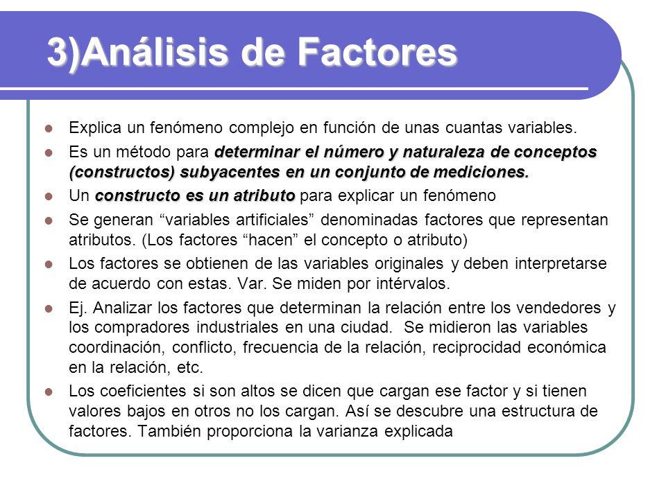 3)Análisis de Factores Explica un fenómeno complejo en función de unas cuantas variables.