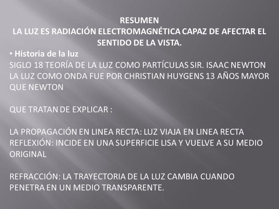 RESUMEN LA LUZ ES RADIACIÓN ELECTROMAGNÉTICA CAPAZ DE AFECTAR EL SENTIDO DE LA VISTA. Historia de la luz.
