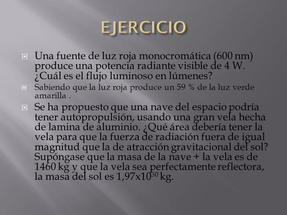 EJERCICIO Una fuente de luz roja monocromática (600 nm) produce una potencia radiante visible de 4 W. ¿Cuál es el flujo luminoso en lúmenes