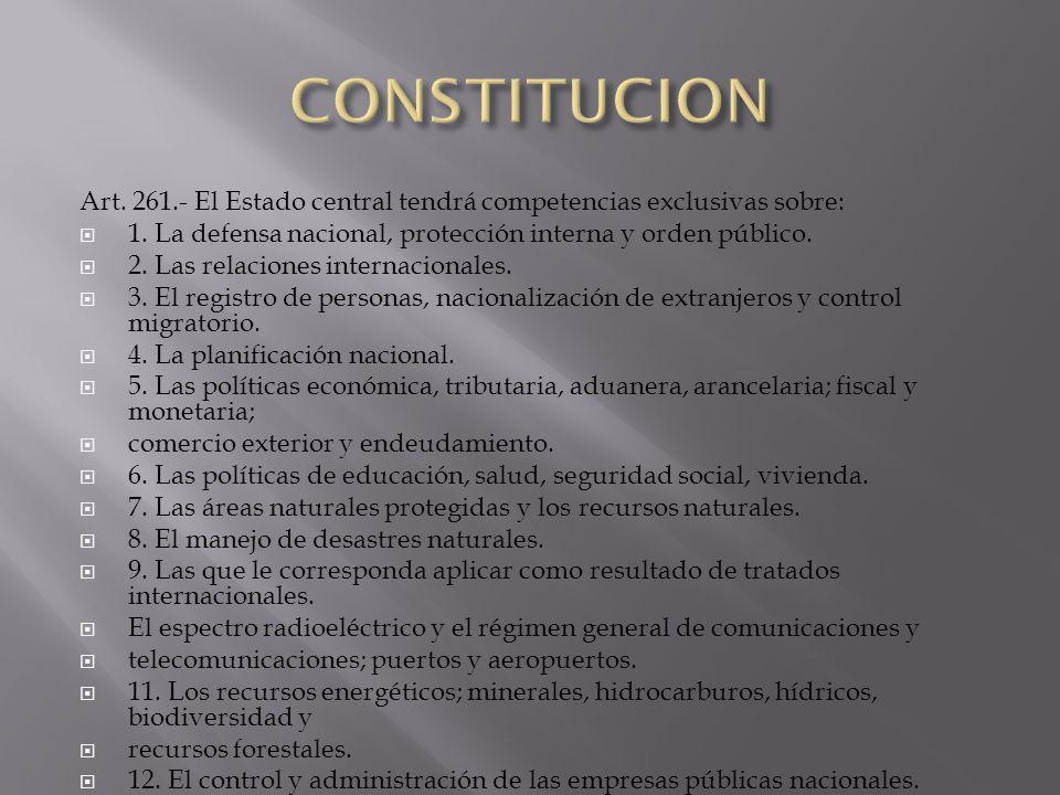 CONSTITUCION Art. 261.- El Estado central tendrá competencias exclusivas sobre: 1. La defensa nacional, protección interna y orden público.