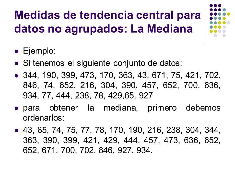 Medidas de tendencia central para datos no agrupados: La Mediana