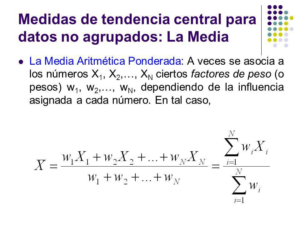 Medidas de tendencia central para datos no agrupados: La Media