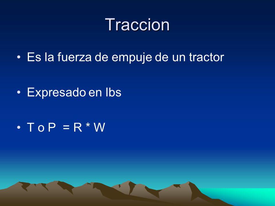 Traccion Es la fuerza de empuje de un tractor Expresado en lbs