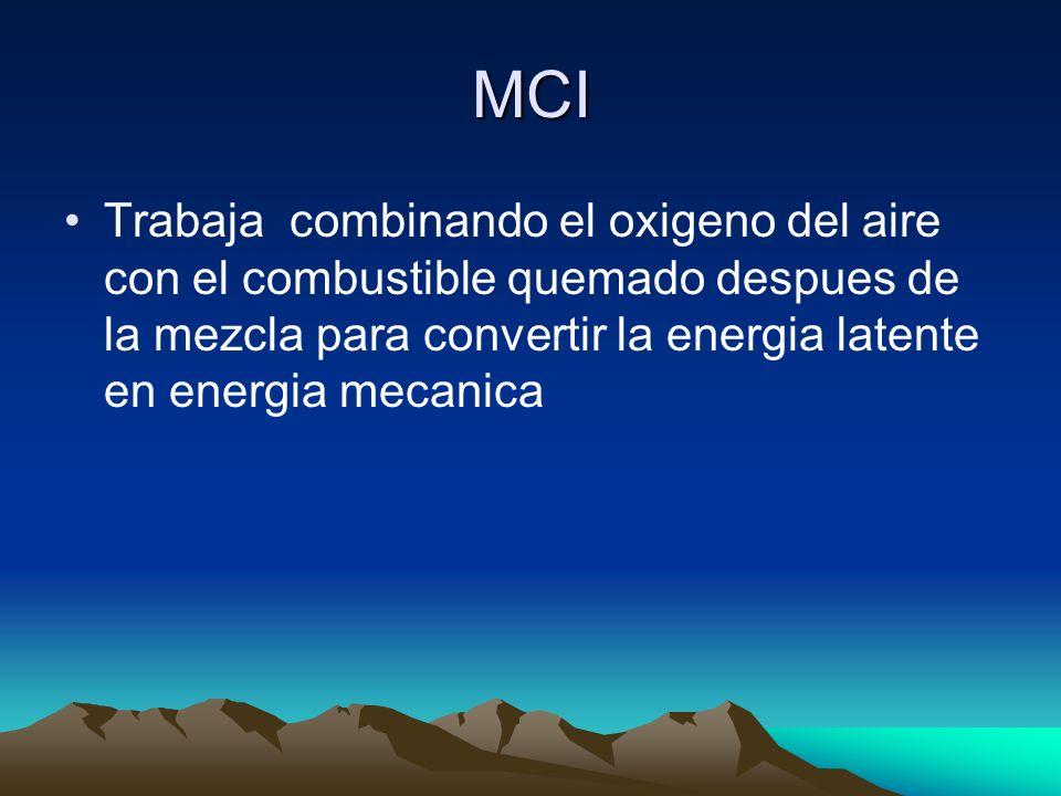 MCI Trabaja combinando el oxigeno del aire con el combustible quemado despues de la mezcla para convertir la energia latente en energia mecanica.