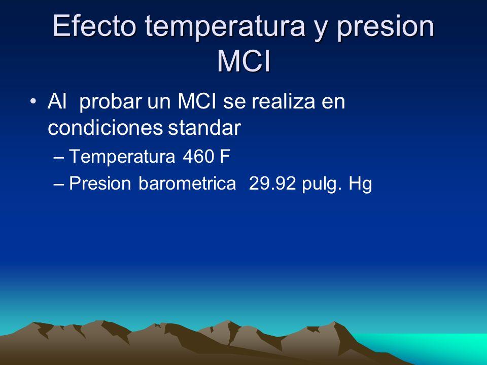 Efecto temperatura y presion MCI